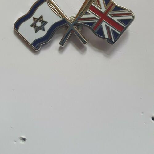 Metal Pin Badge UNION JACK AND ISRAEL T451