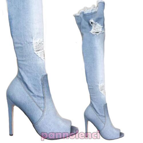 Bottes en femmes jean dessus Au Nouveau déchirées Ks7039 Chaussures pour genou du Jeans 5tgwqnE