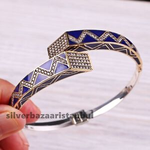 New 925 Sterling Silver Sapphire White Zircon Ladies Woman Bracelet Bangle