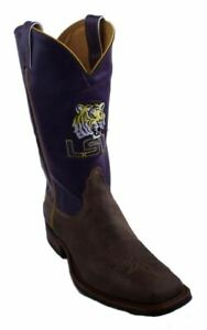 Nocona-MDLSU21B10-Men-039-s-Louisiana-State-Purple-Tan-Cowhide-Branded-College-Boots