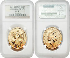 Great Britain 2001 Britannia (Una and the Lion) 100 Pounds 1 oz Gold NGC MS67