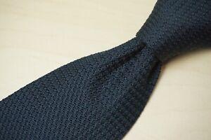 Sulka VINTAGE Solid Black Grenadine 100% Silk Tie