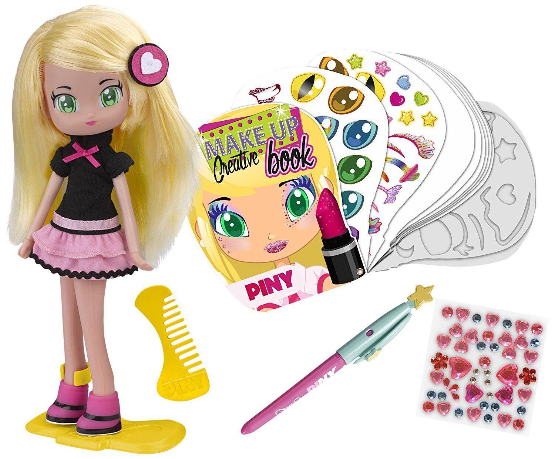 Muñecas PINY - Muñeca Julia con Libro de Diseño Original Serie Original TV