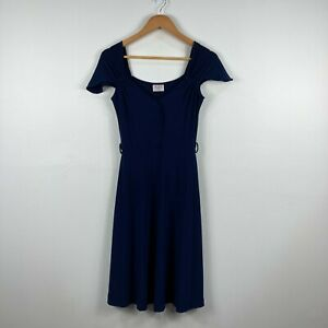 Leona-Edmiston-Womens-Dress-Frock-Size-XS-Extra-Small-Royal-Blue-Short-Sleeve
