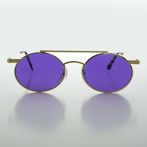 322a1d5aa Image is loading Steampunk-Oval-Vintage-Glasses-with-Purple-Lenses-Gold-