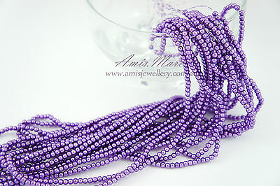 10 Strands(1800beads) 3mm VioletPurple Color Imitation Acrylic Round Pearl Beads