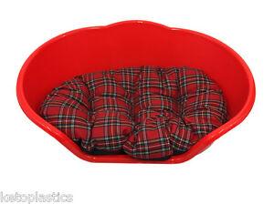 Rouge Vif Lit Pour Chien / Chat, Lit / Panier Avec Un Coussin Tartan Rouge-afficher Le Titre D'origine Les Commandes Sont Les Bienvenues.