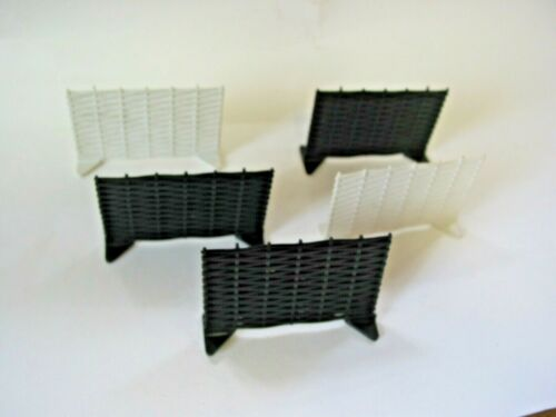 SCALEXTRIC WANEY LAP FENCES X 5-3 BLACK 2 WHITE AS USED IN GOODWOOD CHICANE