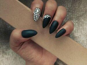 Full cover false nails MATT BLACK STILETTO NAILS x20 +free ...