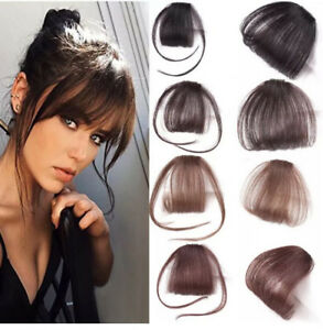 Synthetic-Hair-Fringe-Bang-Hairpiece-Clip-In-Front-Hair-Extension-Straight-Hair