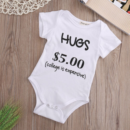 Newborn Toddler Baby Boy Girl Bodysuit Outfits Funny Romper Cotton Clothes 0-24M