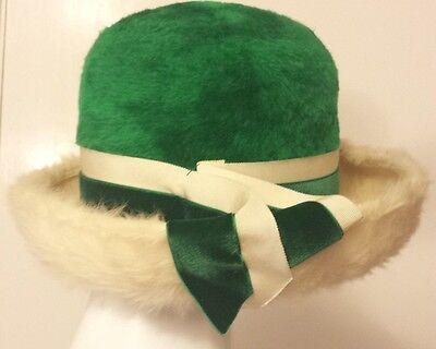 Vintage, Martelle - Emerald Green/Ivory, Wool Felt/Faux Fur Hat (M/56 cm)