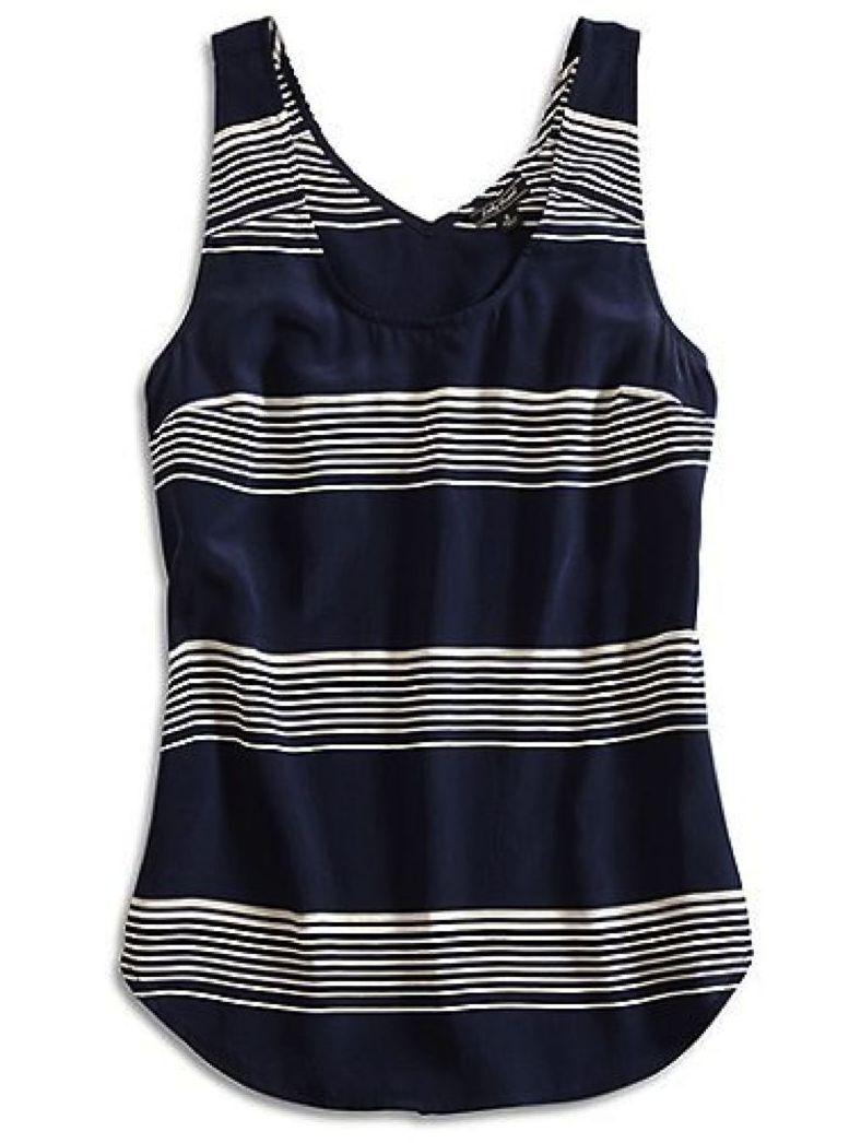 Lucky Brand - Damen L - Nwt - Marineblau Gestreift 100% Seide Cross-Back