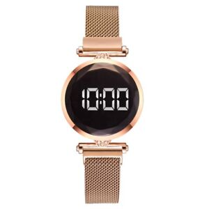 LED Women Girl's Watch Digital Magnet Bracelet Strap Free Buckle For Gift 2021