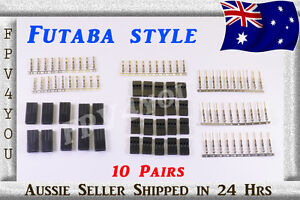 FUTABA-SERVO-PLUGS-Gold-Plated-x10-Pairs-Connectors-PLUGS-Terminals-HIGH-QUALITY
