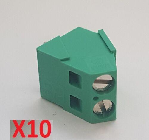 X10 Morsetto da PCB 2P 5,08mm terminali a vite made in italy 45° gradi