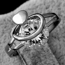 Rare Womens White Gold Plated clear crystal Heart Ring Size 9 Free Shipping