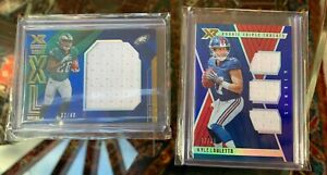 Panini XR Rookie Jersey Cards: 2019 Miles Sanders /49 and 2018 Kyle Lauletta /75
