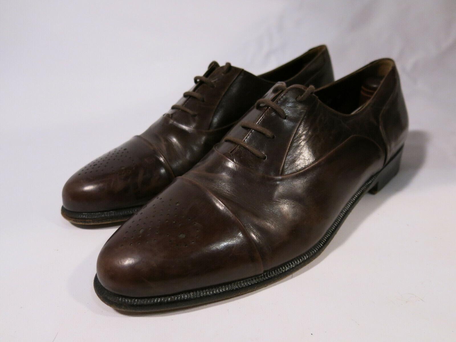 Santoni Mens 9 D Made in  Marronee Brogue Medallion  Cap Toe Oxfords scarpe  acquista la qualità autentica al 100%