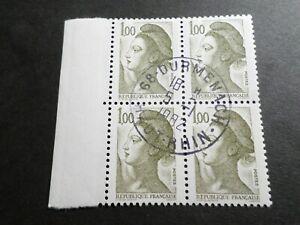 FRANCE BLOC timbres 2185 LIBERTE' DELACROIX, oblitéré 1982 cachet rond, QUARTINA