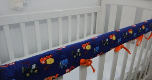 Cot Rail Cover Diggers Tractors Navy Crib Teething Pad SET OF TWO