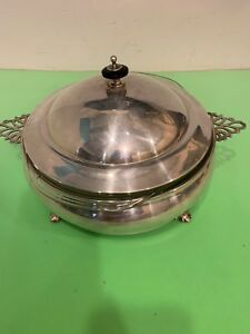 Vintage 2 Quart Pyrex Loaf Dishes Glass Bowl & Silver Plated Stand & Cover