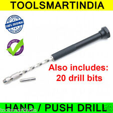 PCB Hand Drill + Collet + 20 Drill Bits (0.8mm)