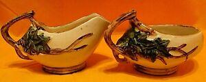 Vintage McCoy American Art Pottery Ivy Pattern Creamer Sugar Bowl Set