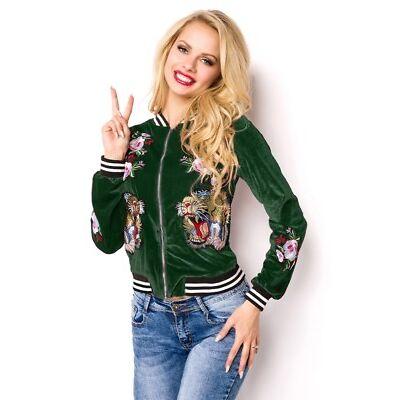 Giacca Blouson Femminile di velluto verde polsini costine abbigliamento uy 15102