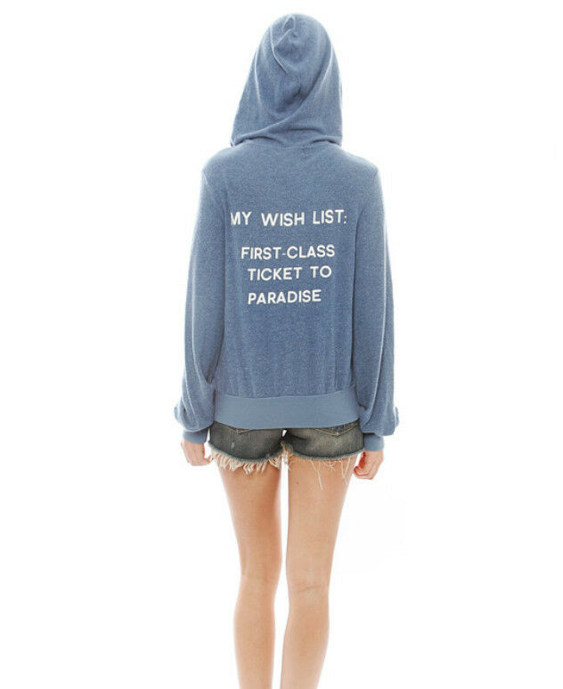 Wildfox Couture My Wish List Zip Hoodie In Denim bluee  148 Size S