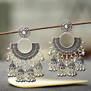 Indiano-Bollywood-Vintage-Argento-Ossidato-tradizionale-Jhumka-jhumki-Orecchini-Regalo