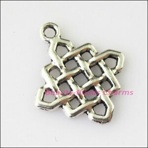 10 New Square Chinese Knot Tibetan Silver Tone Charms Pendants 21x25mm