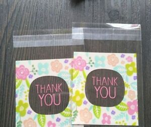 100pcs Gifts Cookie Packaging Bags Print Flower Small Gift Bag Pattern Thank You