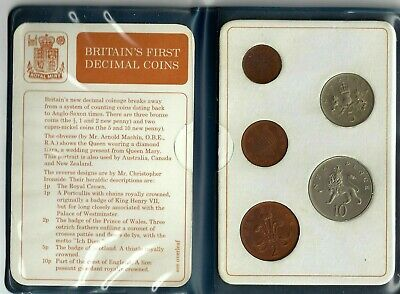 Britians FIRST Decimal Coin Set Presentation Collection Uncirculated 1971-1968