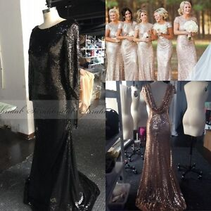 Sequins Long Sleeve Bridesmaid Formal Wedding Dress Evening Party Gown Plus Size