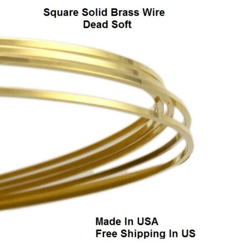 Sold By the Foot Square Solid Brass Wire Dead Soft 16 Ga Yellow Brass