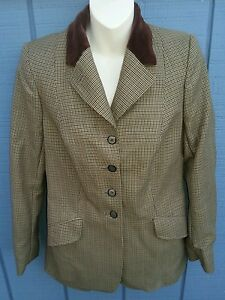 Vintage HARRY HALL UK SZ 6/8? Hunt Coat Hacking Jacket Brown &amp