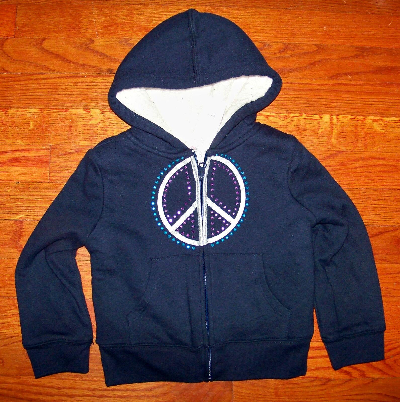 Új!Lányok A GYERMEKEK HELYE Navy Kék Ezüst Béke Jelentkezési Jacket Méret XS 4