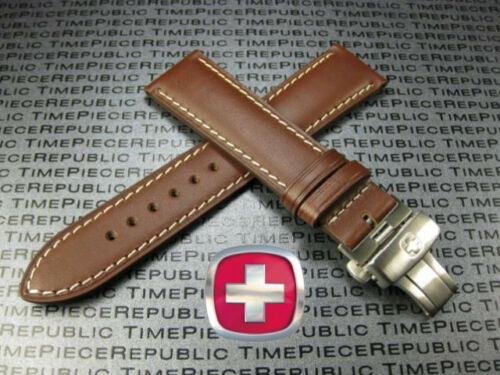 22mm VICTORINOX SWISS ARMY Brown CALF LEATHER STRAP Deployment Brush Buckle BAND