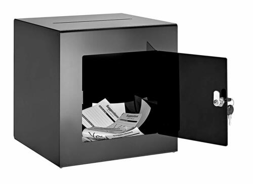 AdirOffice Black Acrylic 12 x 12 Donation Box Ballot Cash Suggestion Comment Box