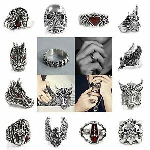 Gothic-Punk-Finger-Rings-Men-039-s-Titanium-Steel-Fashion-Skull-Head-Biker-Jewelry