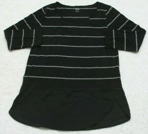Black-White-Tee-T-Shirt-Top-Rayon-Poly-3-4-Sleeve-Small-Ana-New-Approach-WS-57