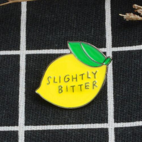 Insignia Pin Broche Esmalte Limón Corsage Camisa solapa cuello fruta Pin Joyería HGUK