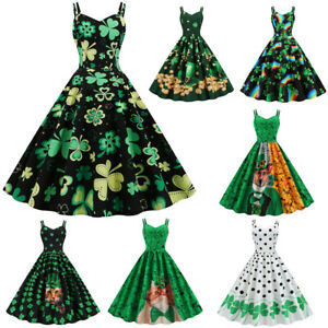 St-Patrick-039-s-Day-Women-Shamrock-Evening-Print-Party-Prom-Strap-Big-Swing-Dress