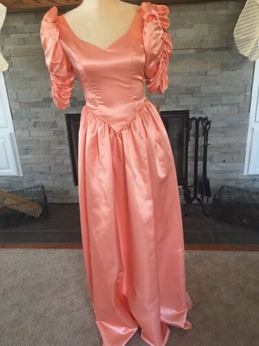 80's Party Prom Dress Puff Sleeves Shiny Matte Bl… - image 1