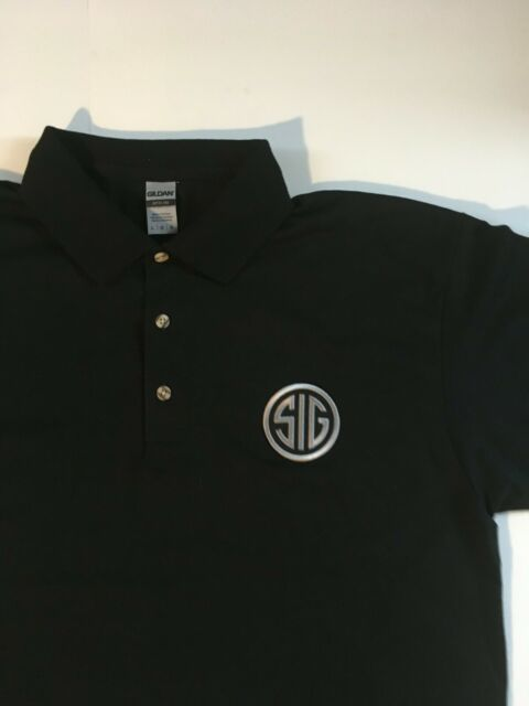 NEW SIG SAUER Polo Shirt Black With Silver/Black Emblem S-M-L-XL-XXL 9mm handgun