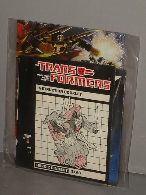 G1 TRANSFORMER DINOBOT SLAG FACTORY SEALED  MANUAL DECAL BAGGIE  LOT