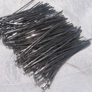 LOT-120-TIGES-CLOUS-TETE-PLATE-50mm-x-0-7mm-GUNMETAL-noir-gris-sans-nickel-U30