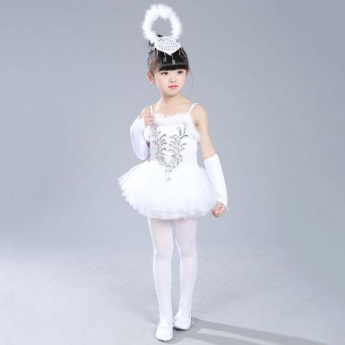 Kid Girls Tutu Ballet Leotard Dance Dress Swan Ballerina Fairy Dancewear Costume