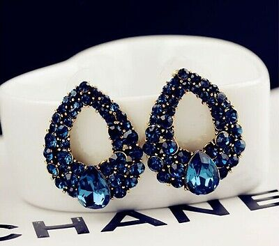 Lady New Fashion Charm Elegant Full Rhinestone Hollow Out WaterDrop Earring Stud